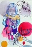 Lili  gyöngytyúkokkal